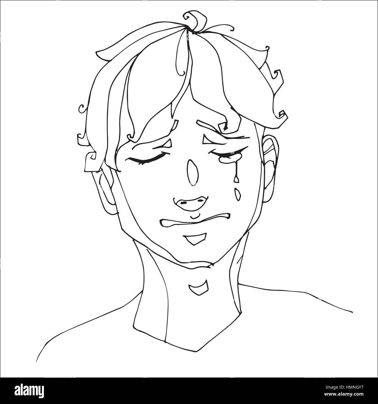 The boy crying heavily human emotions sketch hand drawing contour vector graphics illustration for coloring