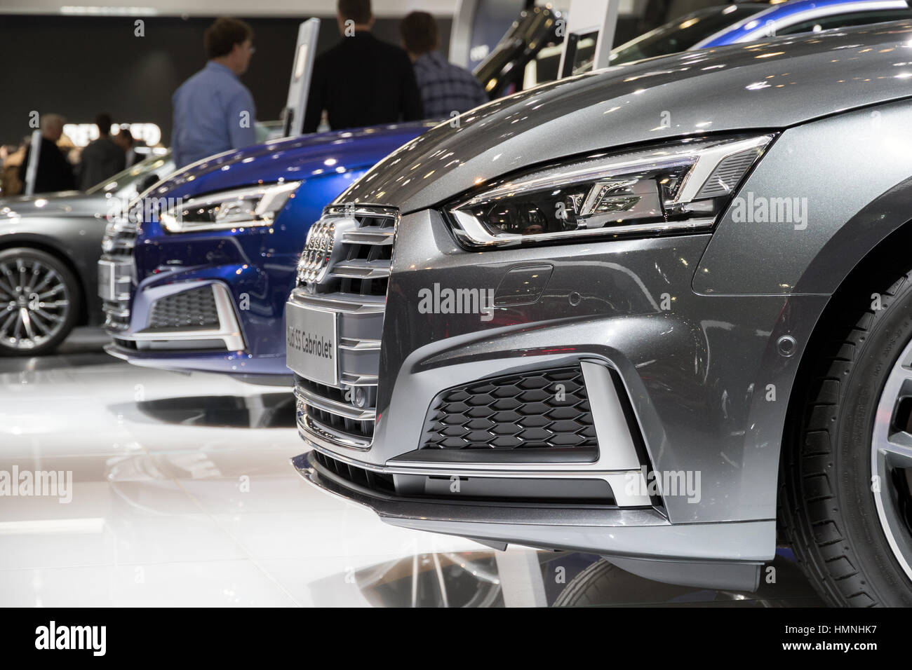 BRUSSELS - JAN 19, 2017: New Audi cars on display at the Brussels Motor Show. - Stock Image