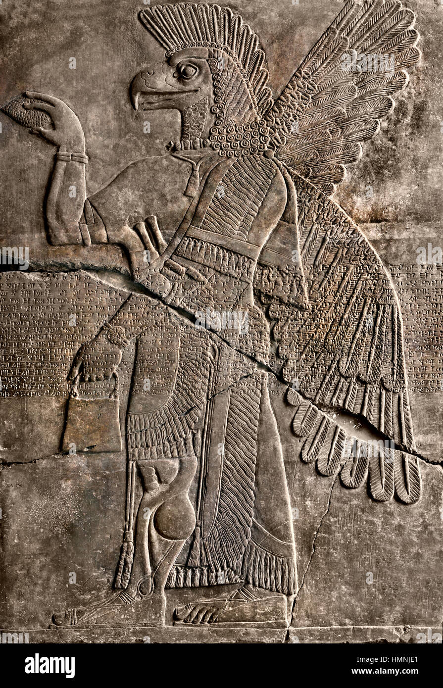 Relief depicting a lion hunt (orthostat) Assyrian King Ashurnasirpal II (883-859 BC) Northwest Palace at Nimrud Stock Photo