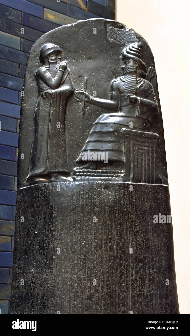 Hammurabi (c. 1810 BC - 1750 BC) sixth king of the First Babylonian Dynasty 1792 BC to 1750 BC . He extended Babylon's - Stock Image