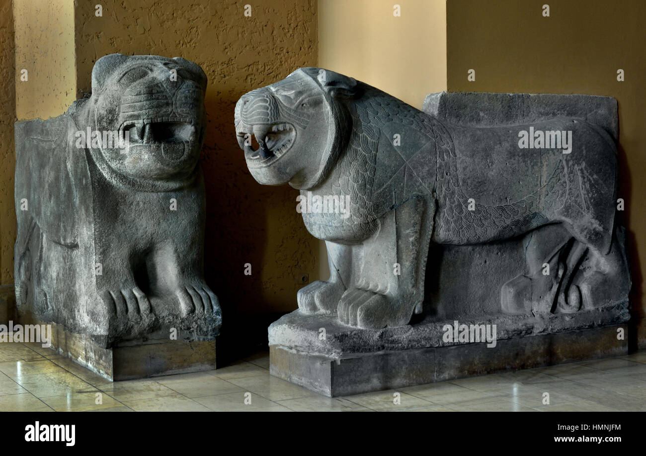 Lions of Inner Gate of the Citadel of Sam'al/Zincirli in Turkey Lions (reconstruction) Erected and rebuilt during Stock Photo