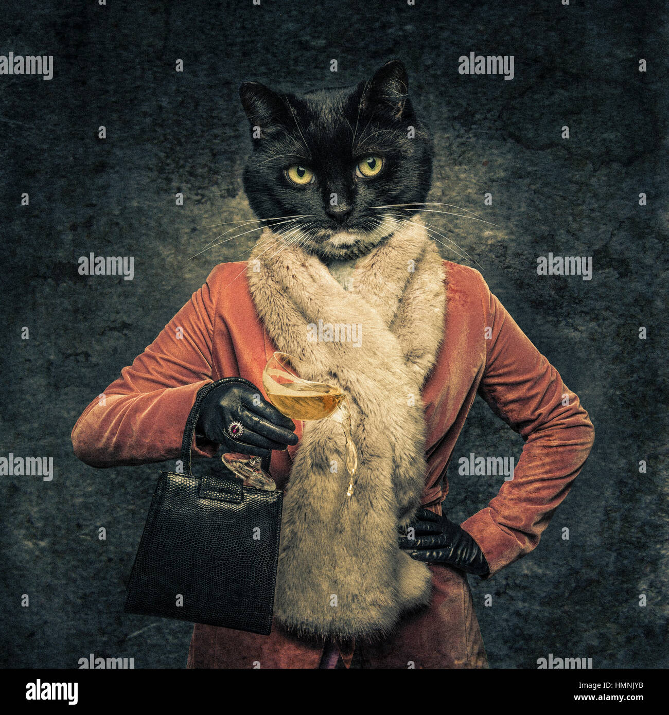 Human body with cat head hybrid creature holding drink and handbag - Stock Image