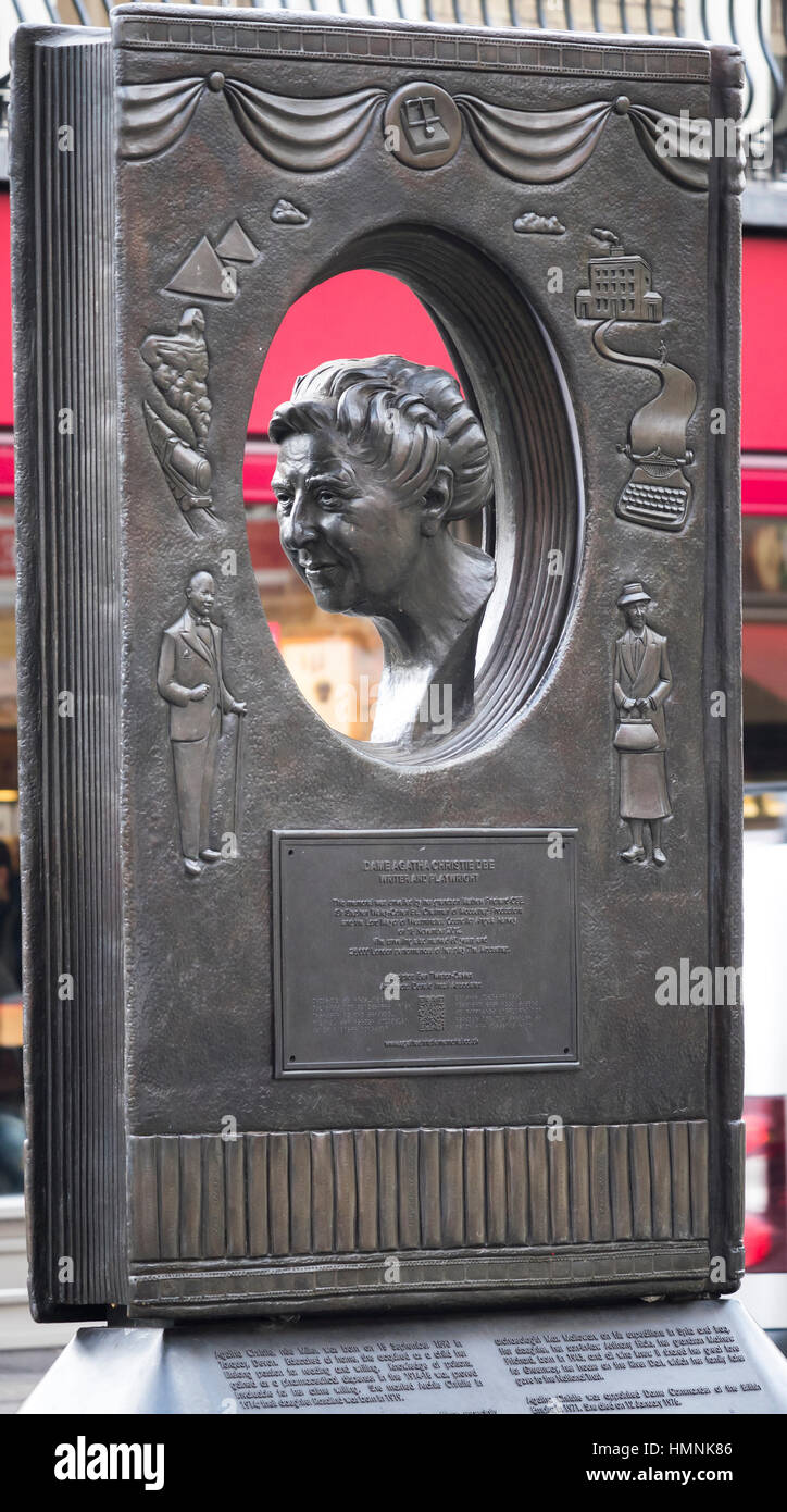 Statue to commemorate the British crime author Agatha Christie statue in Great Newport Street, West End, London - Stock Image