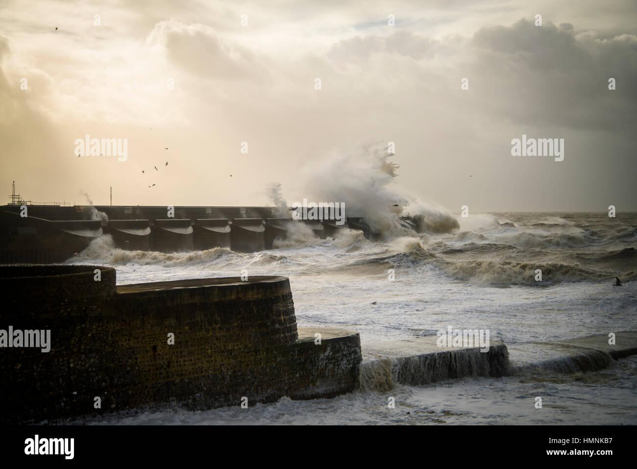 Storm raging at Brighton Marina sepia No. 1. 2015. Stock Photo