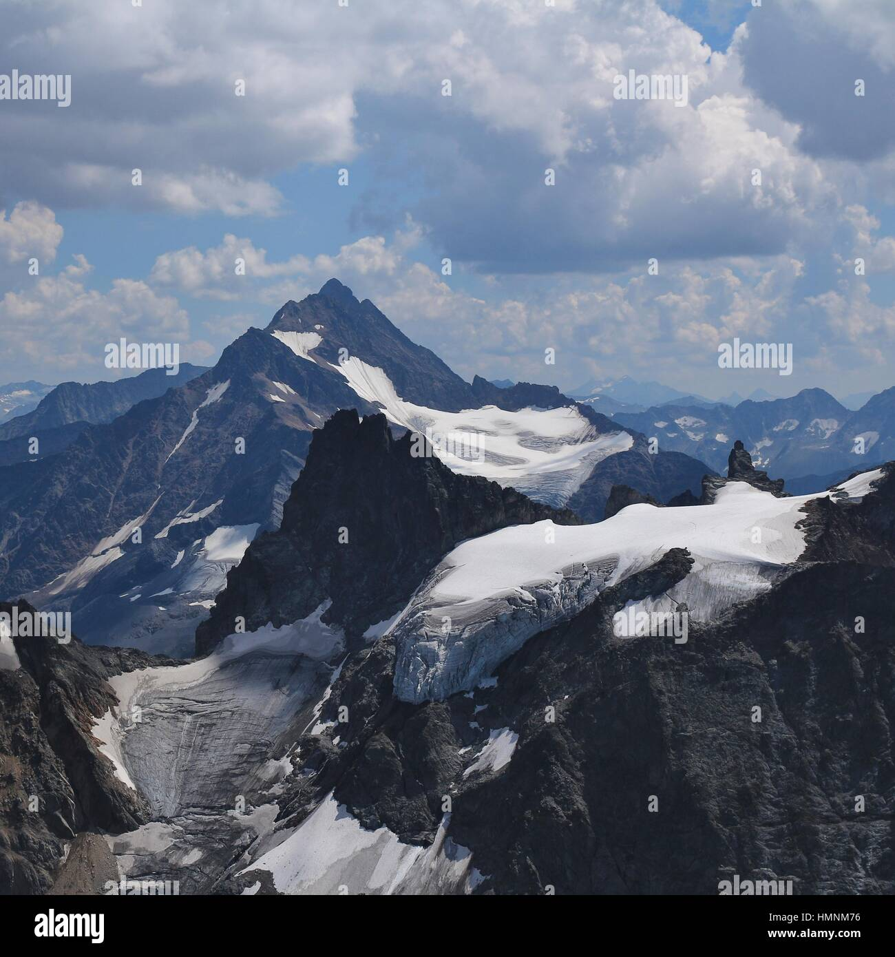Mount Fleckistock, Stucklistock and others. Mountains and glacier seen from mount Titlis, travel destination in - Stock Photo