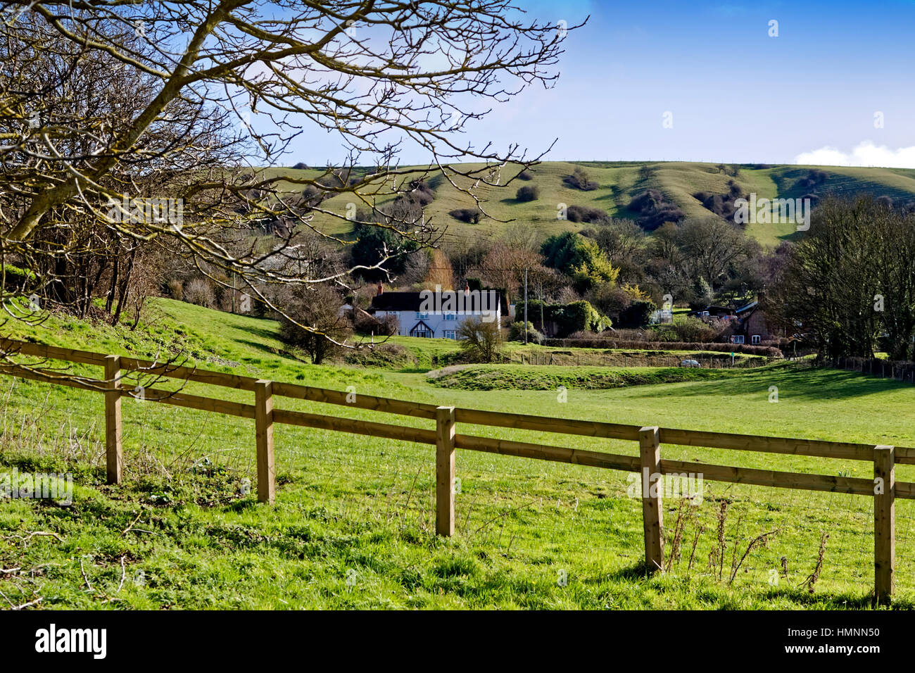 Cottages in the village of Edington, Wiltshire, United Kingdom. Stock Photo