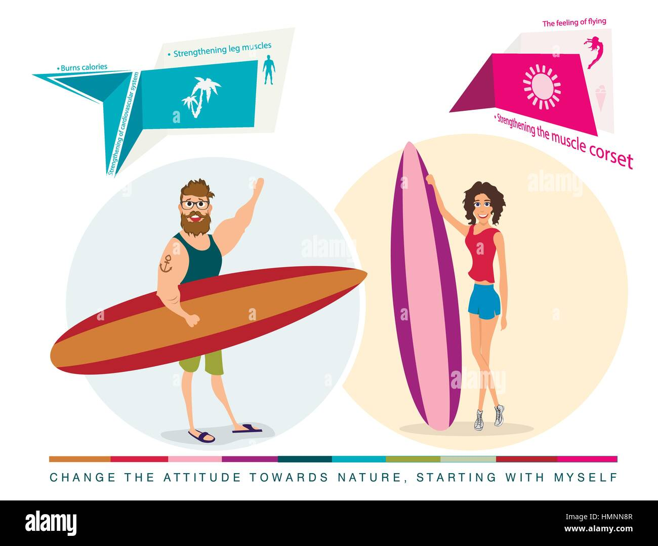 characters surfers girl and boy - Stock Vector