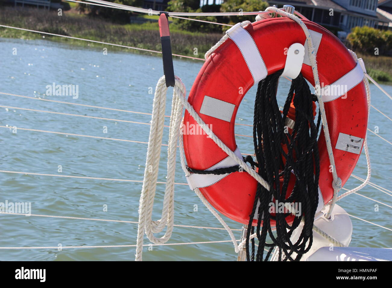 bright red lifesaver on a boat stock photo 133244231 alamy