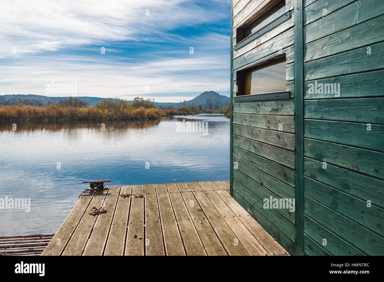 Eco tourism. Nature reserve Brabbia marsh, province of Varese, Italy, along a naturalistic route and near a small - Stock Image