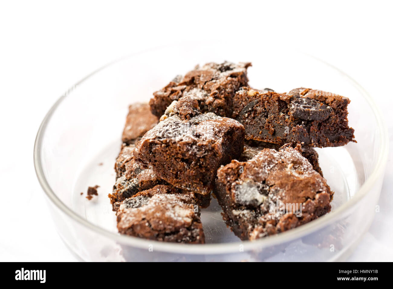 Delicious Freshly baked homemade cookies and cream brownies. Selective focus on the top of brownie - Stock Image