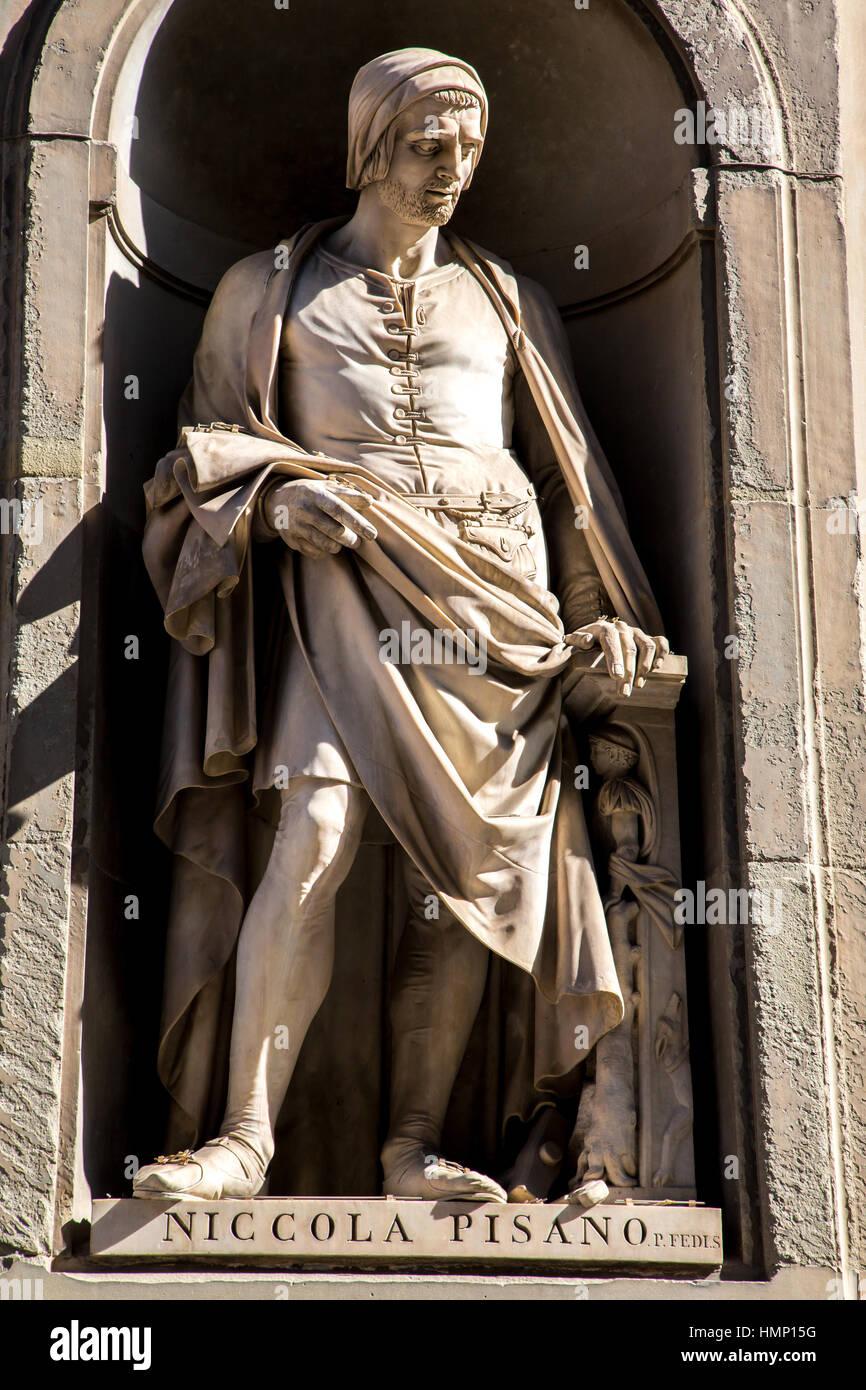 Statue of Niccola Pisano in Piazza degli Uffizi in Florence Italy Stock Photo