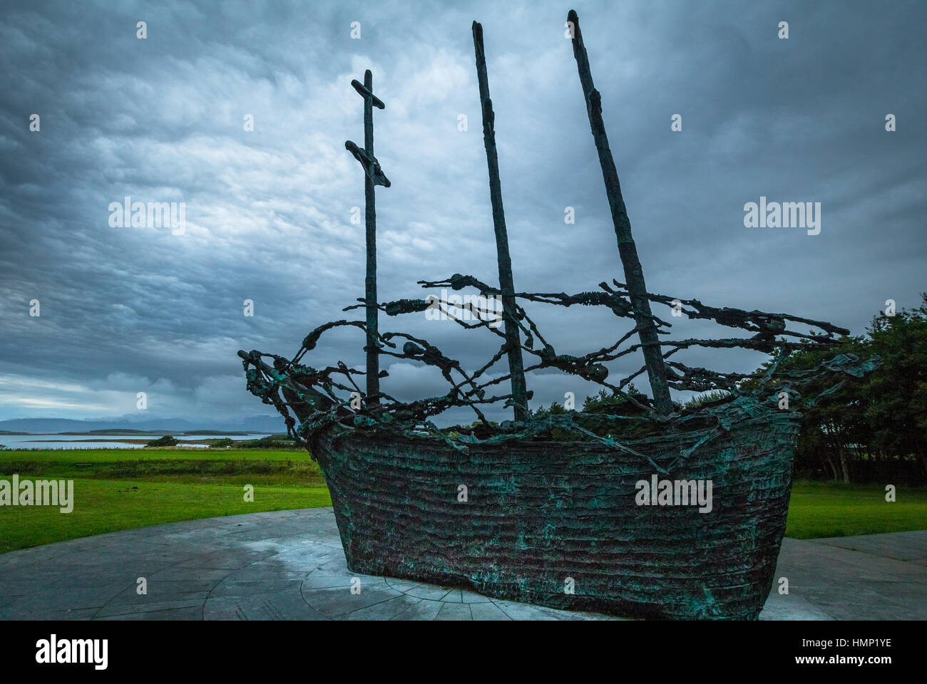 National famine memorial depicting a coffin ship at Murrisk, County Mayo, Ireland Stock Photo