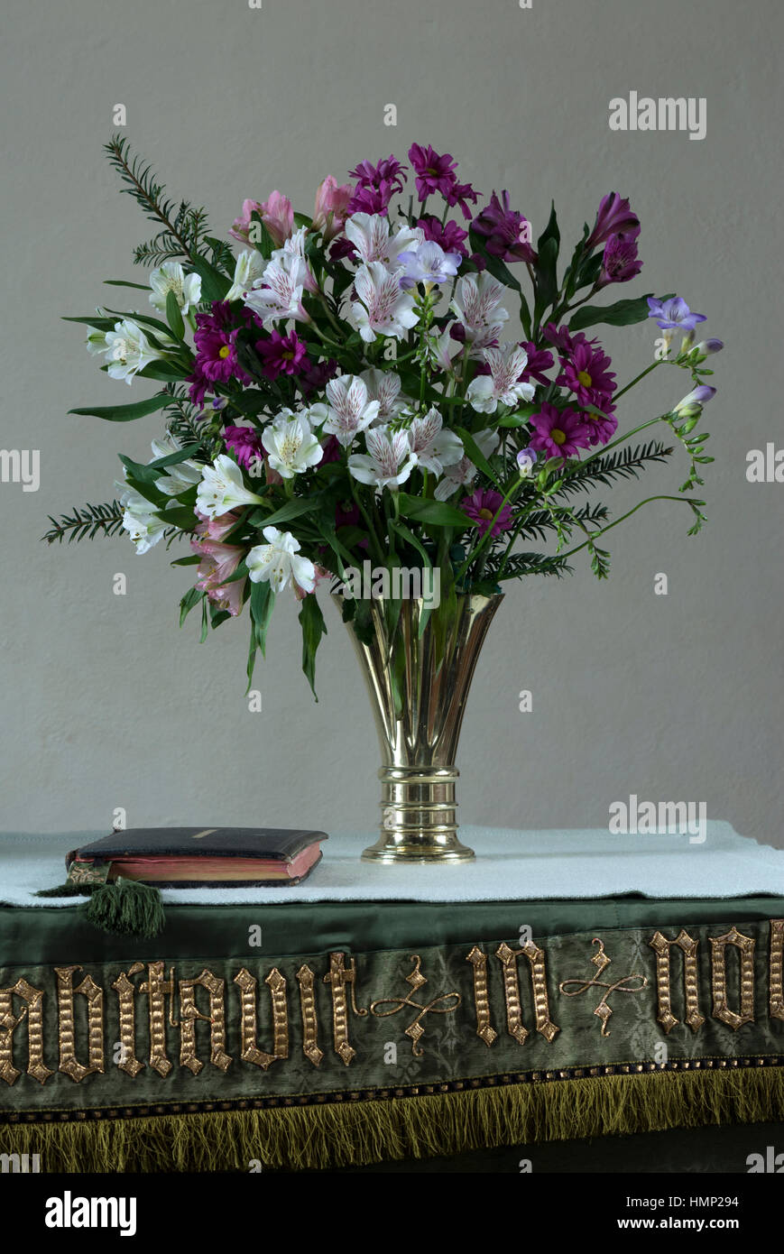 A Flower Arrangement On A Church Altar Stock Photo Alamy