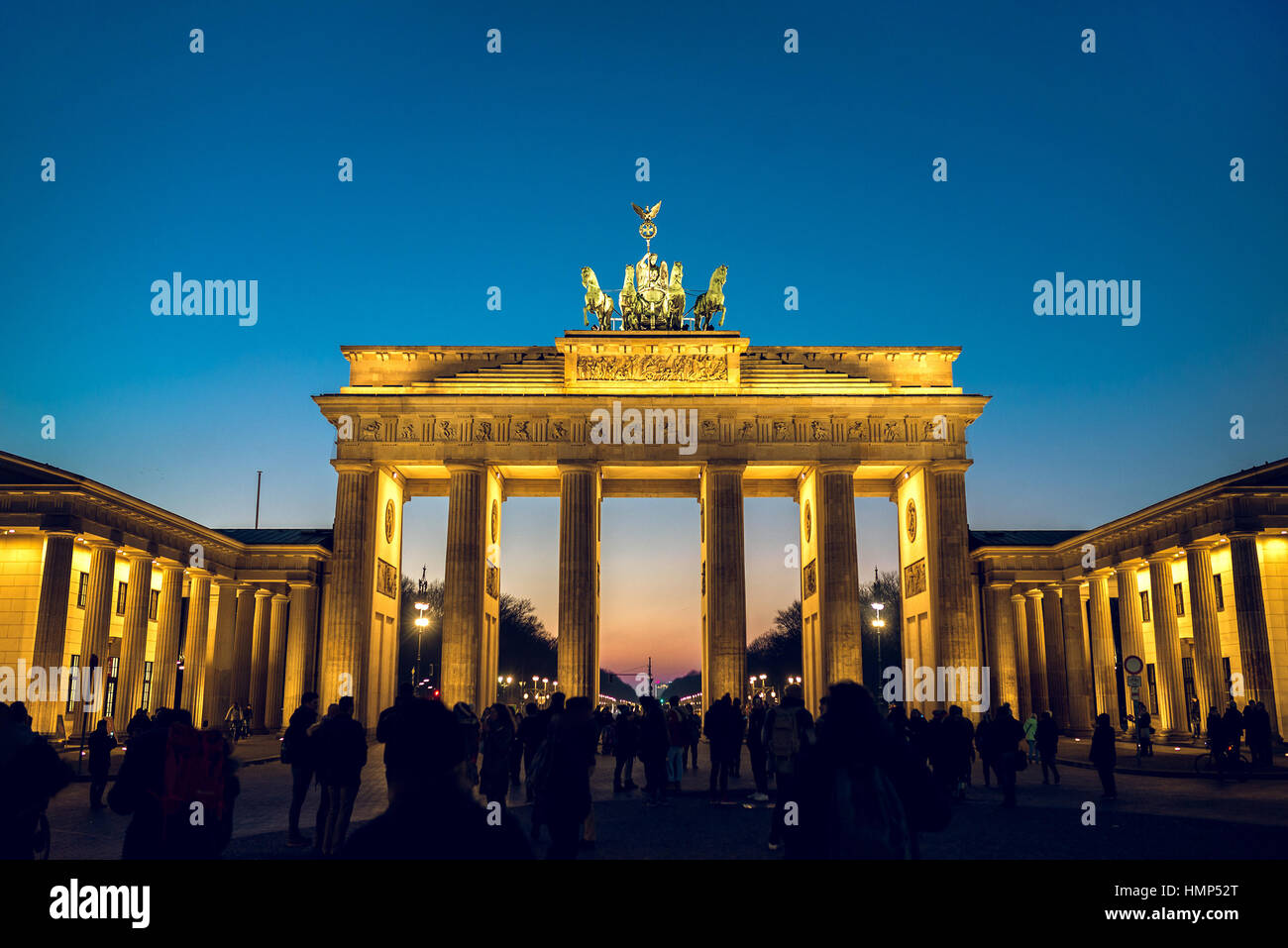 Berlin, Germany - January 22, 2017 -  Brandenburg gate in Berlin, Germany during winter evening. Toned image. - Stock Image