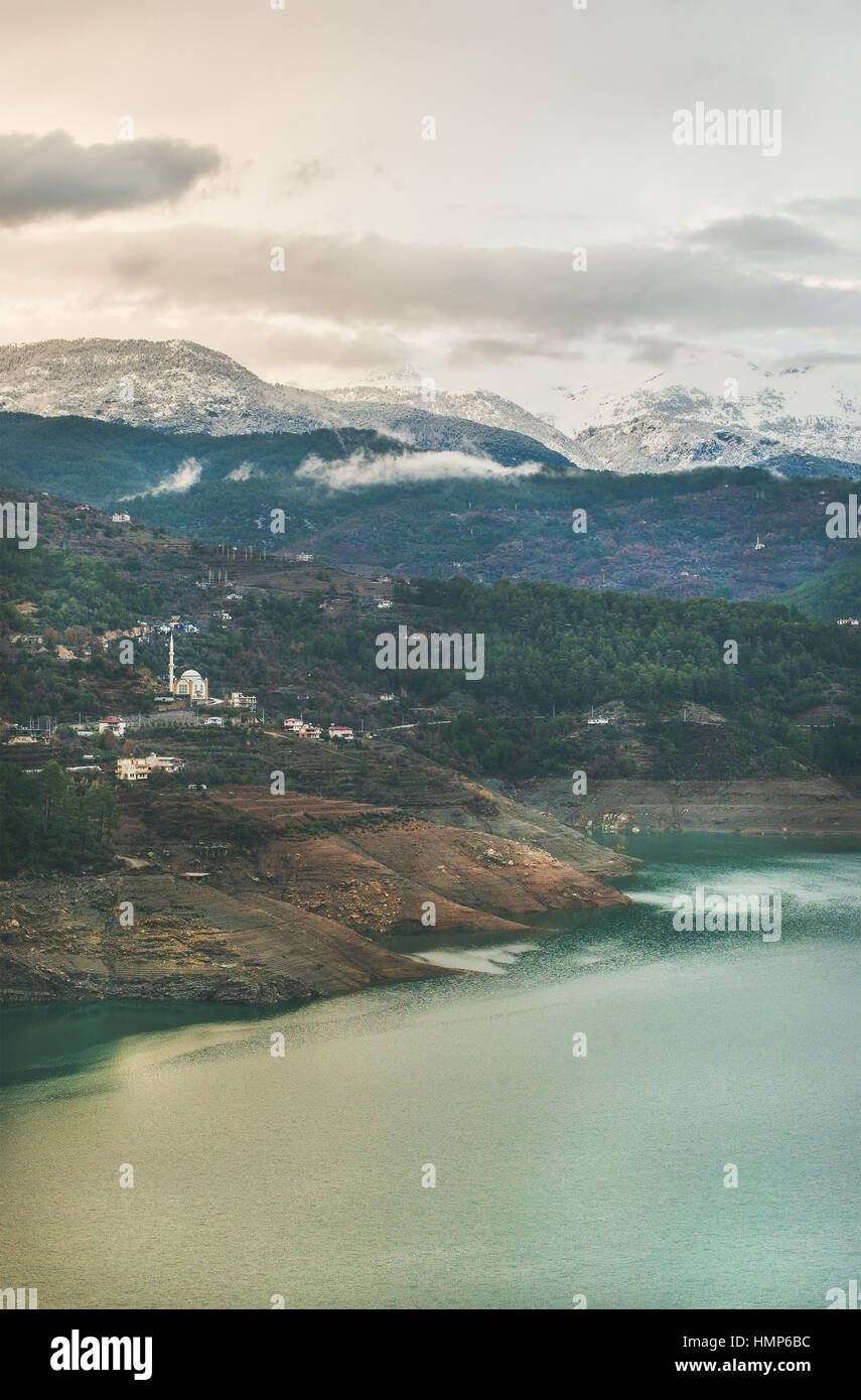 Landscape with Dim Cay storage pond in mountain area, Alanya - Stock Image