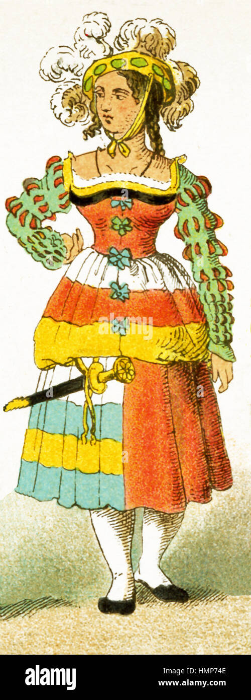 The woman represented here is a German who dates to 1500-1550. The illustration dates to 1882. - Stock Image