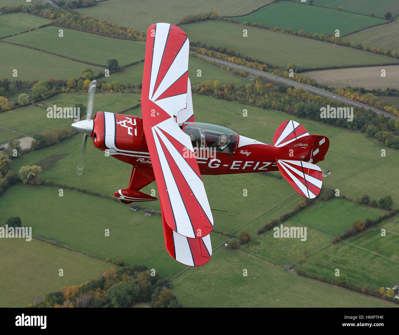 The Rich Goodwin Pitts Special being flown over the Worcestershire countryside - Stock Image
