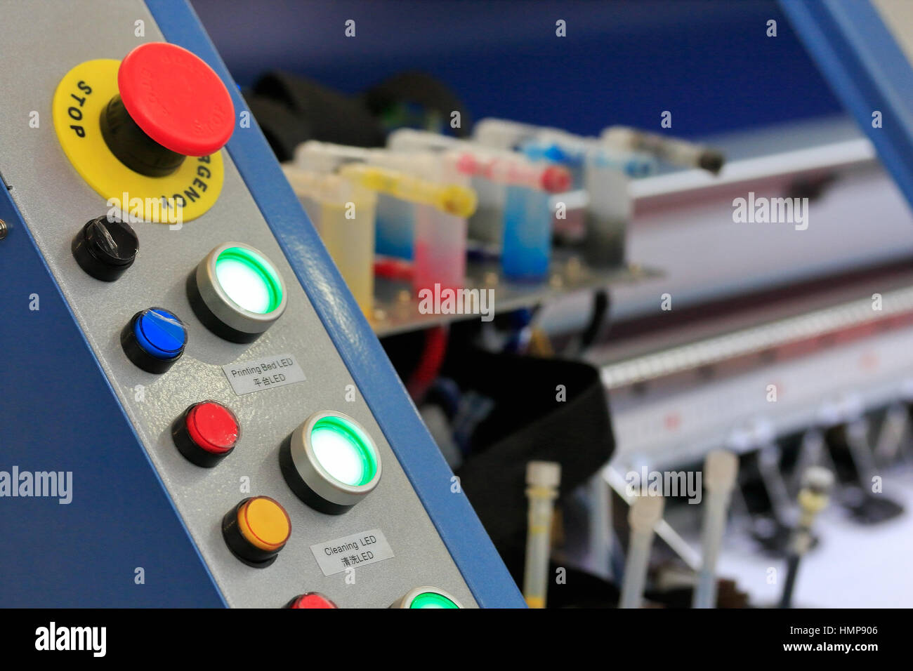 Control panel of large format printer. Selective focus. - Stock Image
