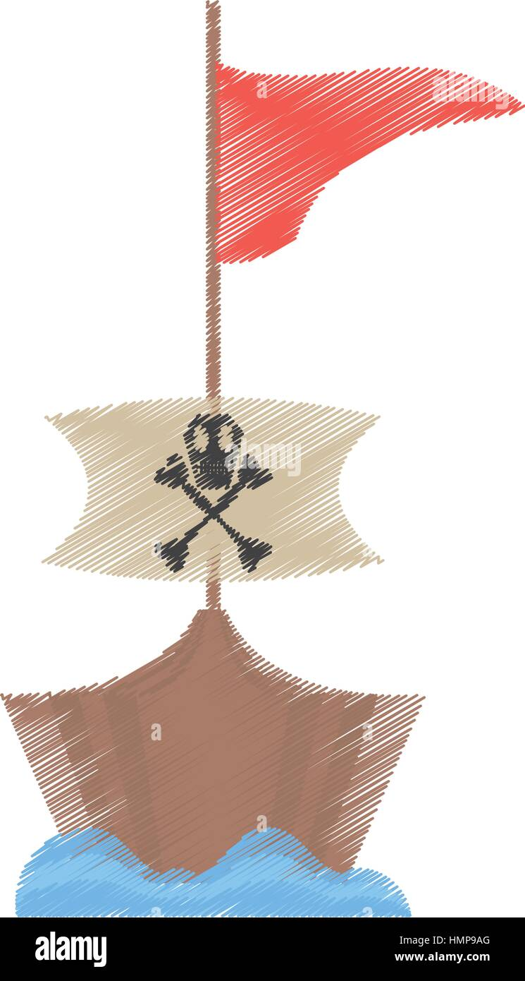 drawing pirate boat sail flag bone and skull sea vector illustration eps 10 - Stock Image