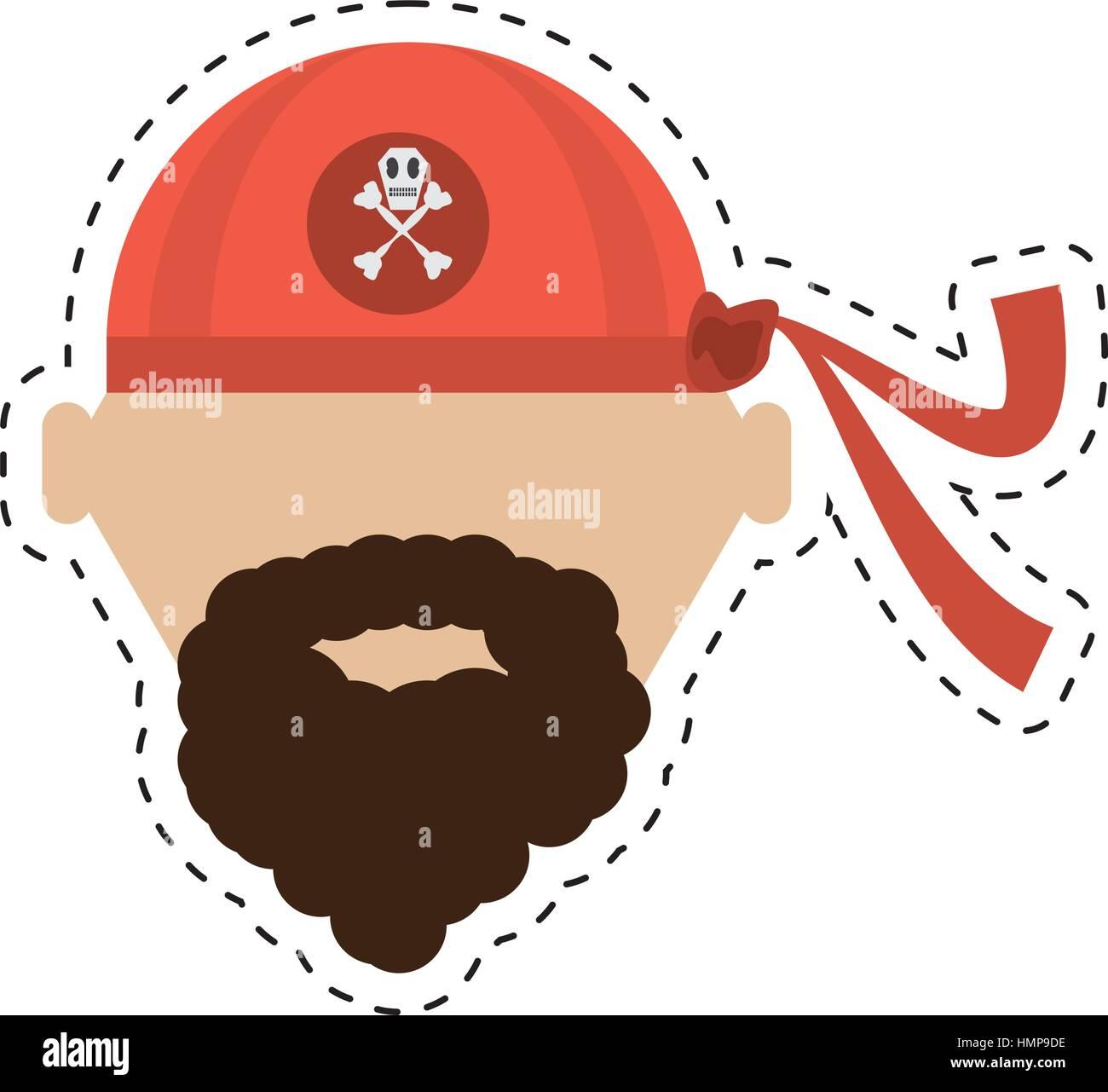 pirate red bandana corsair bones cut line vector illustration eps 10 - Stock Vector