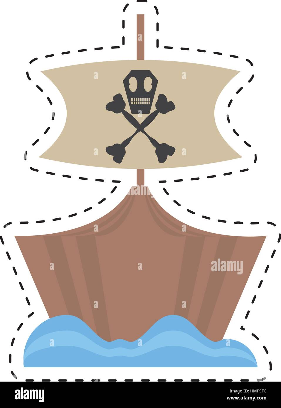 pirate boat sail flag bone and skull sea cut line vector illustration eps 10 - Stock Image