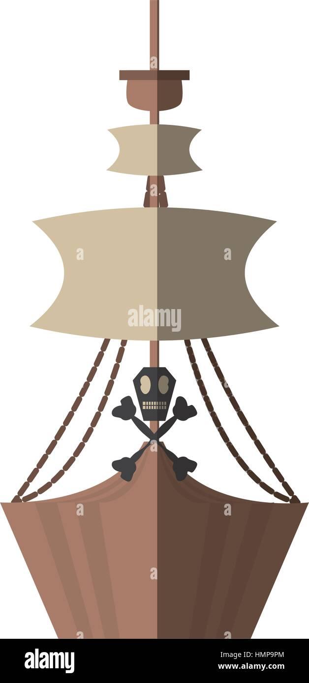 pirate boat sail flag bone and skull shadow vector illustration eps 10 - Stock Image