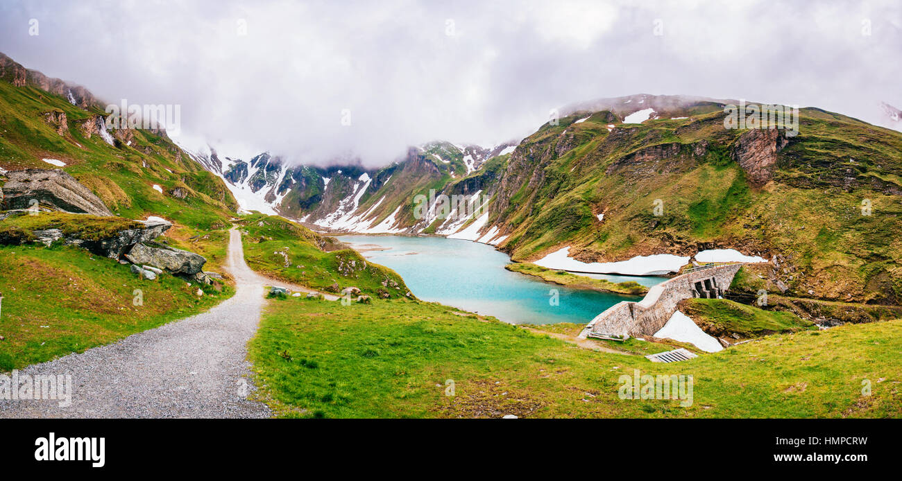 Fantastic landscape almost snow-capped mountains Stock Photo