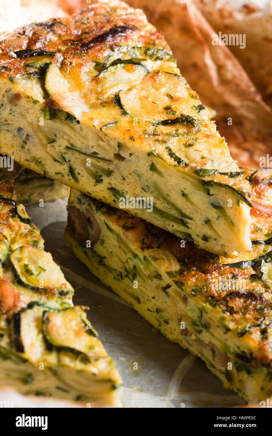 Courgette frittata, close up - Stock Image
