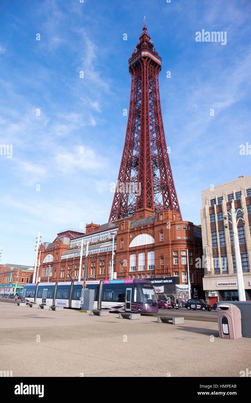 Blackpool Tower, Blackpool seafront - Stock Image