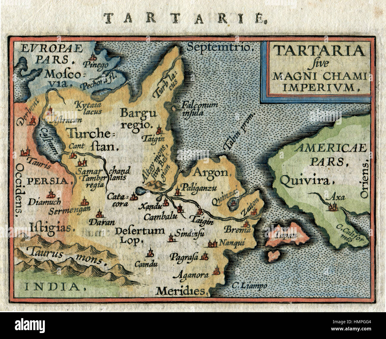 Antique map of china stock photos antique map of china stock antique map tartaria china russia japan amercica by ortelius 1600 stock image gumiabroncs Choice Image