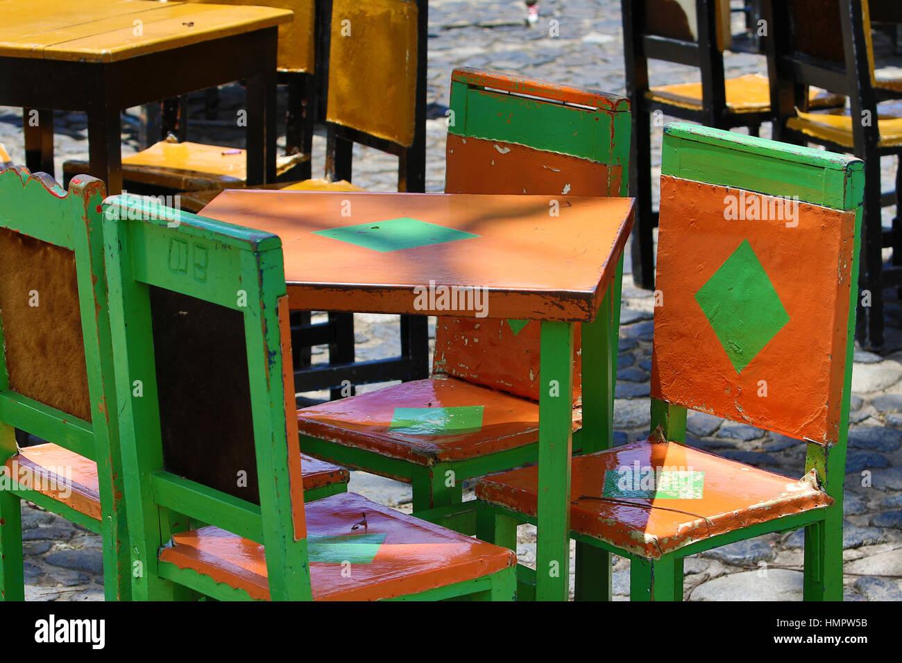 Travel Street Café Patio Tables And Chairs El Jardin Stock Photos ...