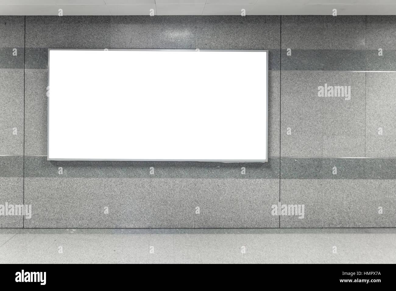 Billboard Banner signage mock up display in subway train station. - Stock Image