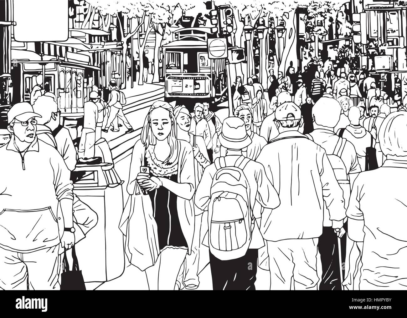 Street Crowd People Walking By the City Street Vector Illustration - Stock Vector