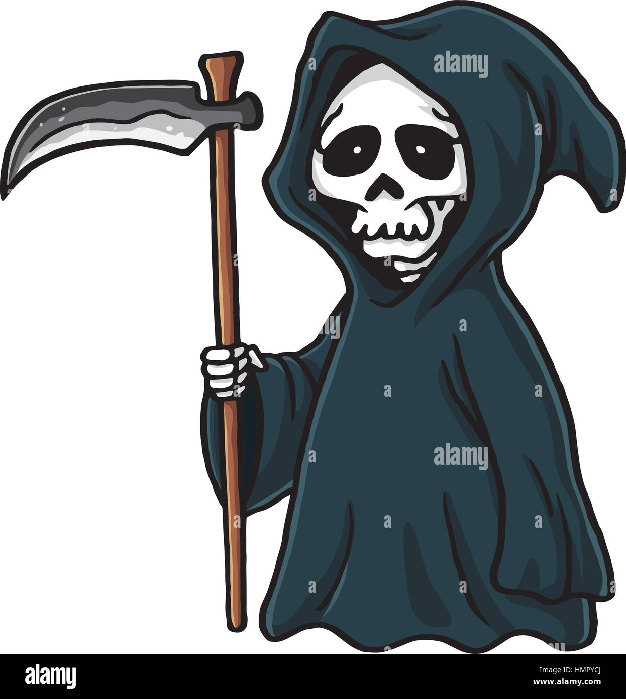 grim reaper cute cartoon skeleton halloween vector illustration stock vector art   illustration Halloween Ghost Clip Art Ghost Outline Clip Art
