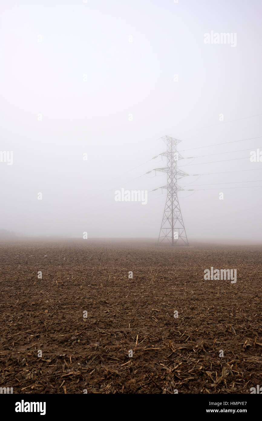 One power transmission tower / pylon in a farm field under heavy fog in Southwest Ontario, Canada. - Stock Image