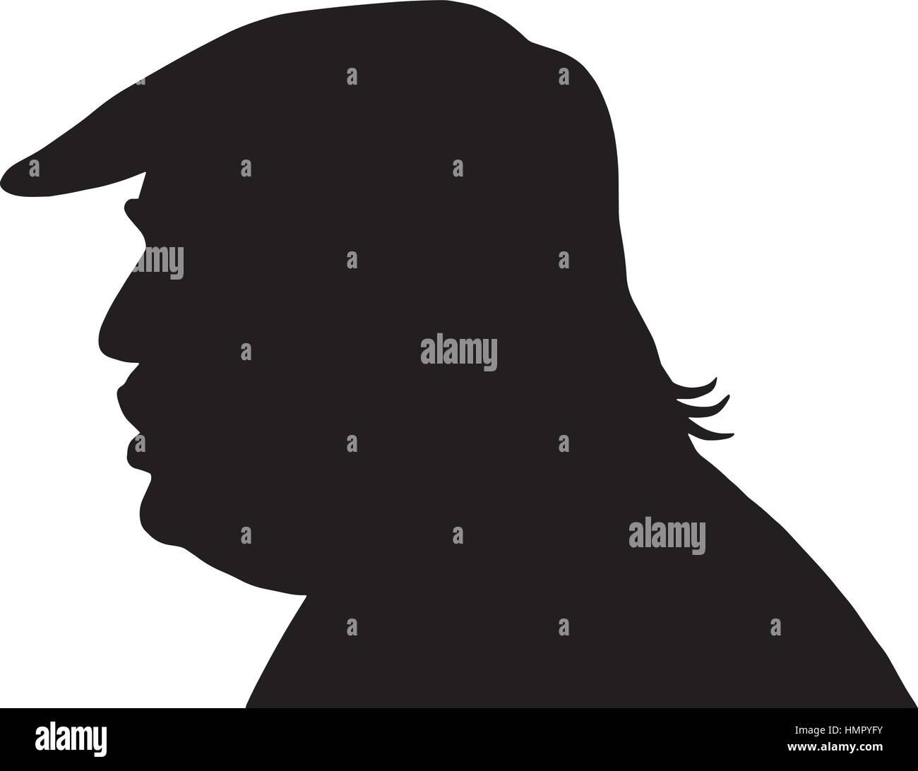Donald Trump Silhouette Vector - Stock Image