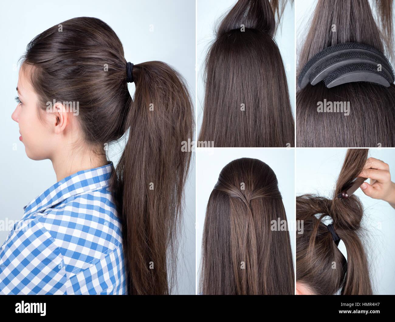 Hairstyle Volume Ponytail Tutorial Stock Photo 133274211 Alamy