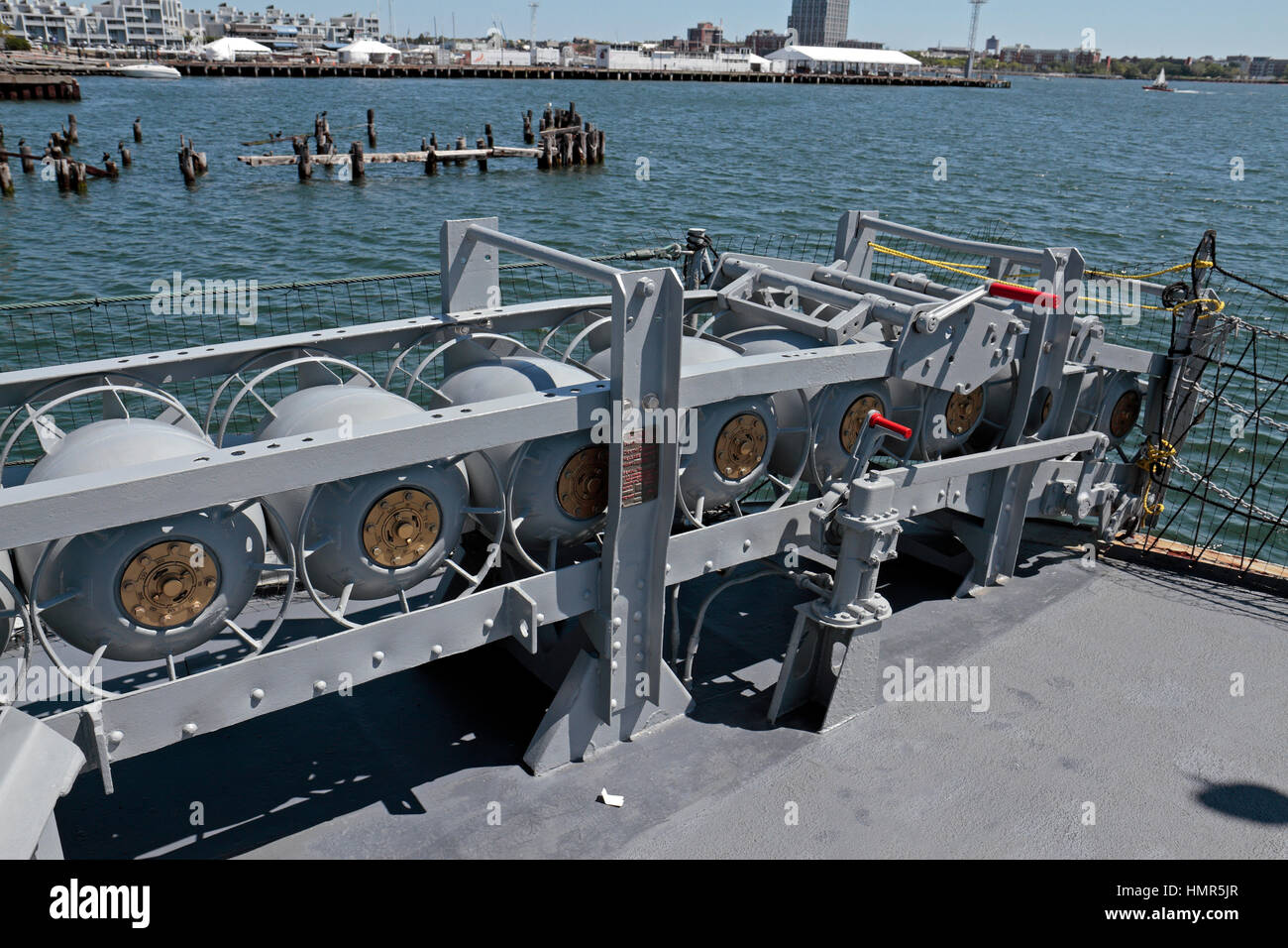 Depth charge rack on the USS Cassin Young, Boston National Historical Park, Charlestown Navy Yard, Boston, Massachusetts, - Stock Image