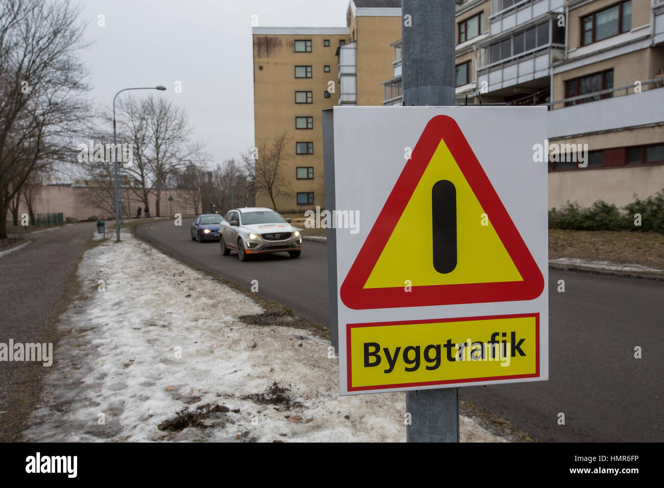 Pay attention, construction traffic in the area, Kista, Stockholm, Sweden. - Stock Image