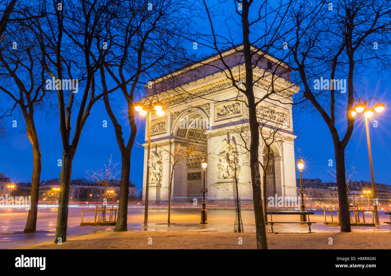 The Triumphal Arch at night Paris, France - Stock Image