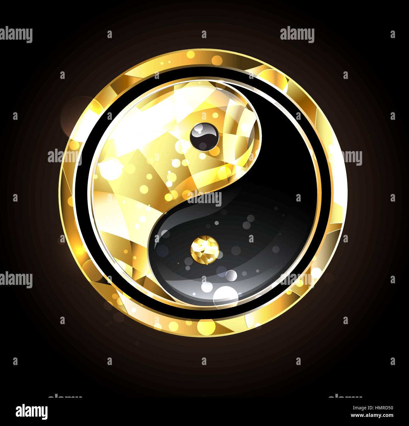 Jewelry Gold And Black Yin Yang Symbol On A Black Background Gold
