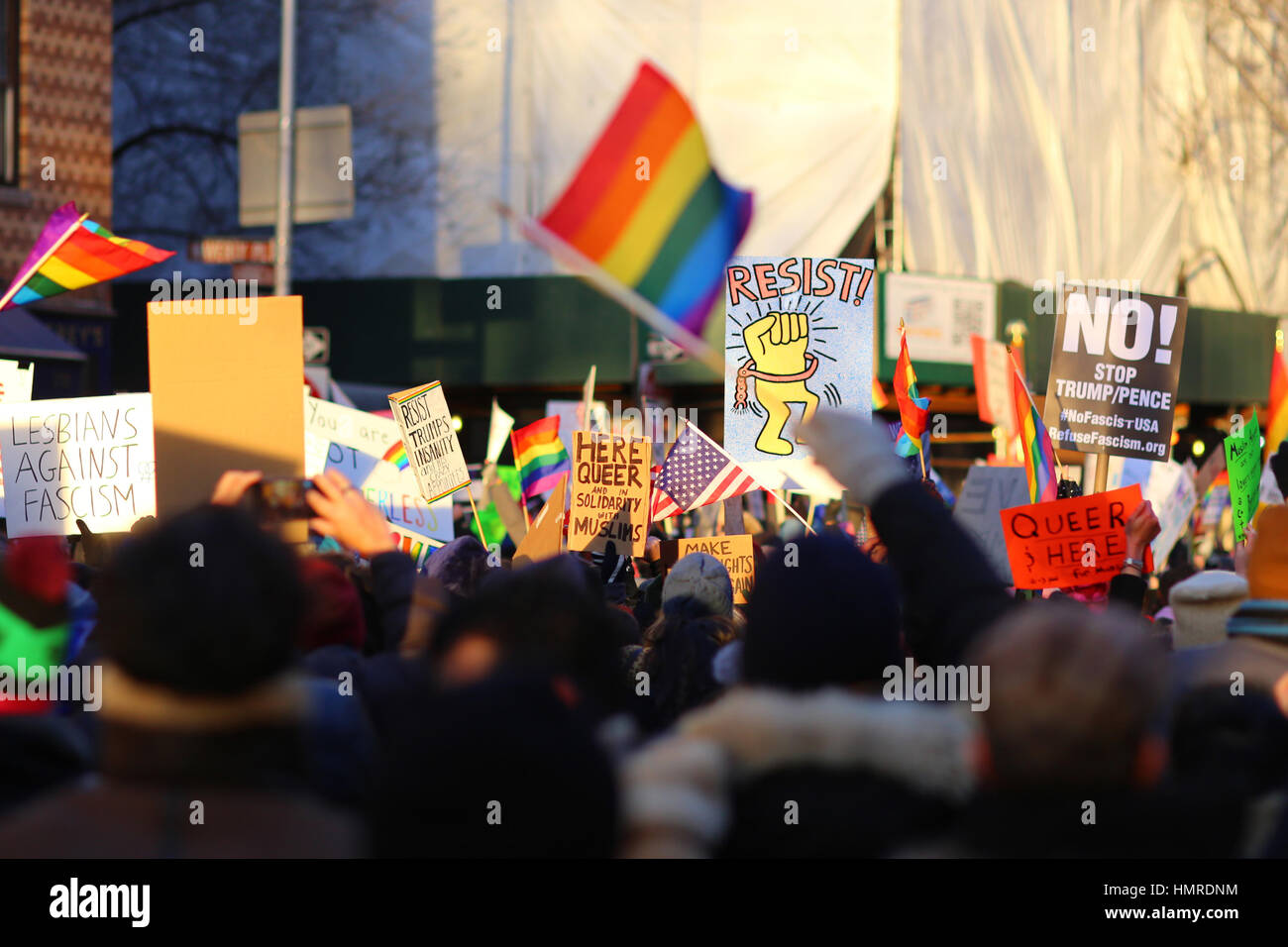 New York, United States. 04th Feb, 2017. New York, USA. 4th February, 2017. Demonstrators at the LGBT Solidary rally - Stock Image