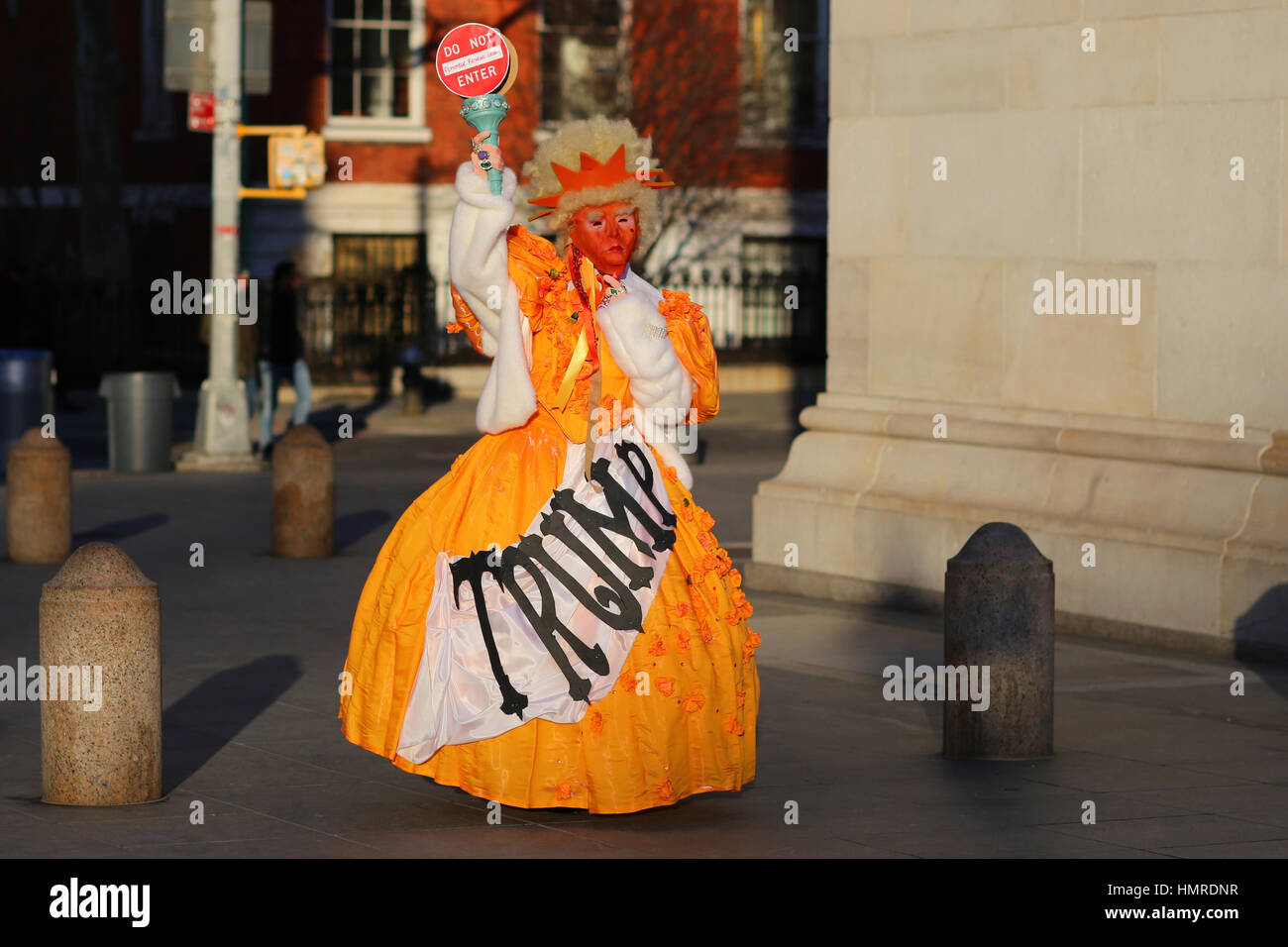 New York, United States. 04th Feb, 2017. New York, USA. 4th February, 2017. A costumed activist with the group 'Gays - Stock Image