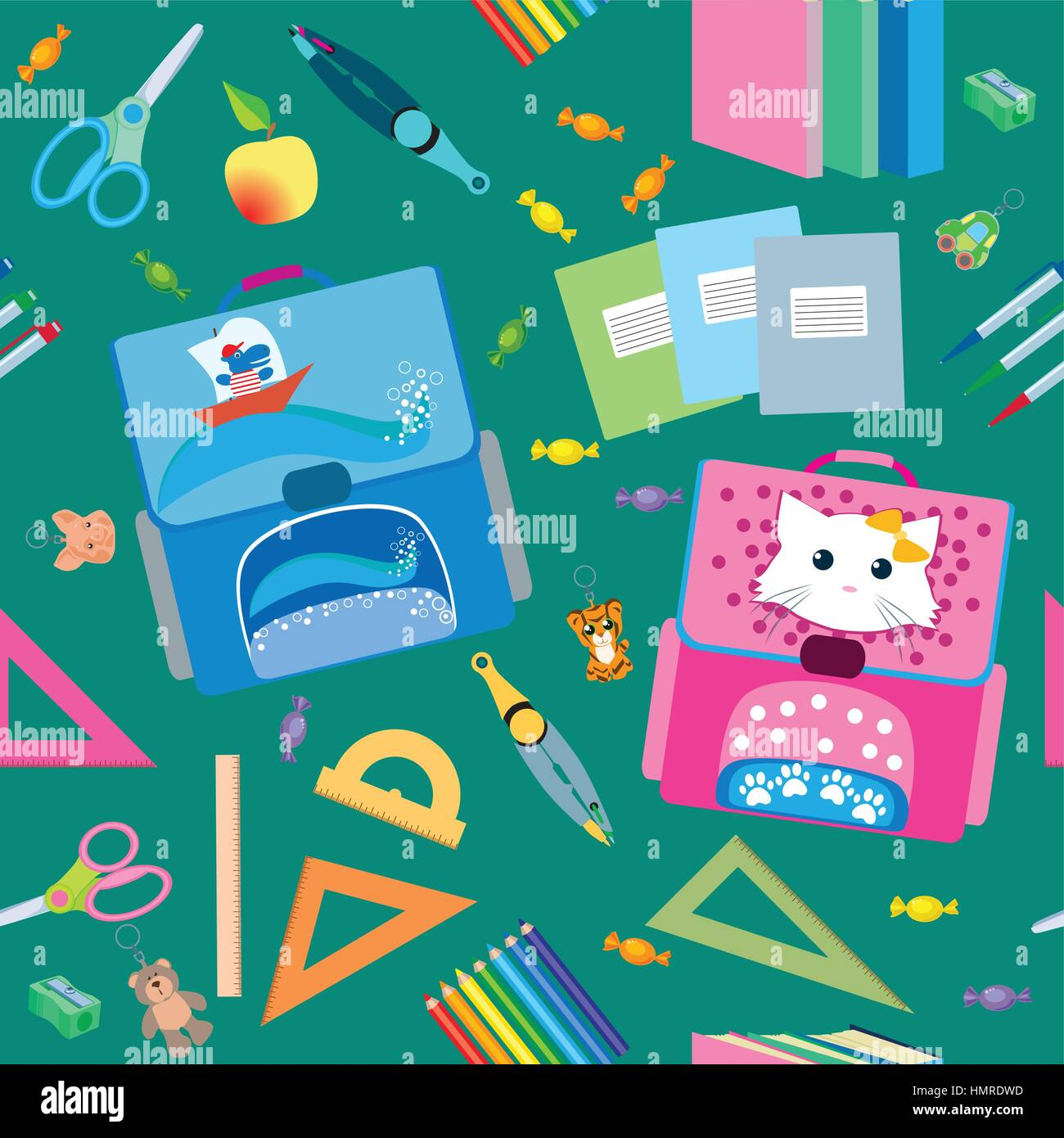 Back to School icons education seamless pattern - Stock Vector