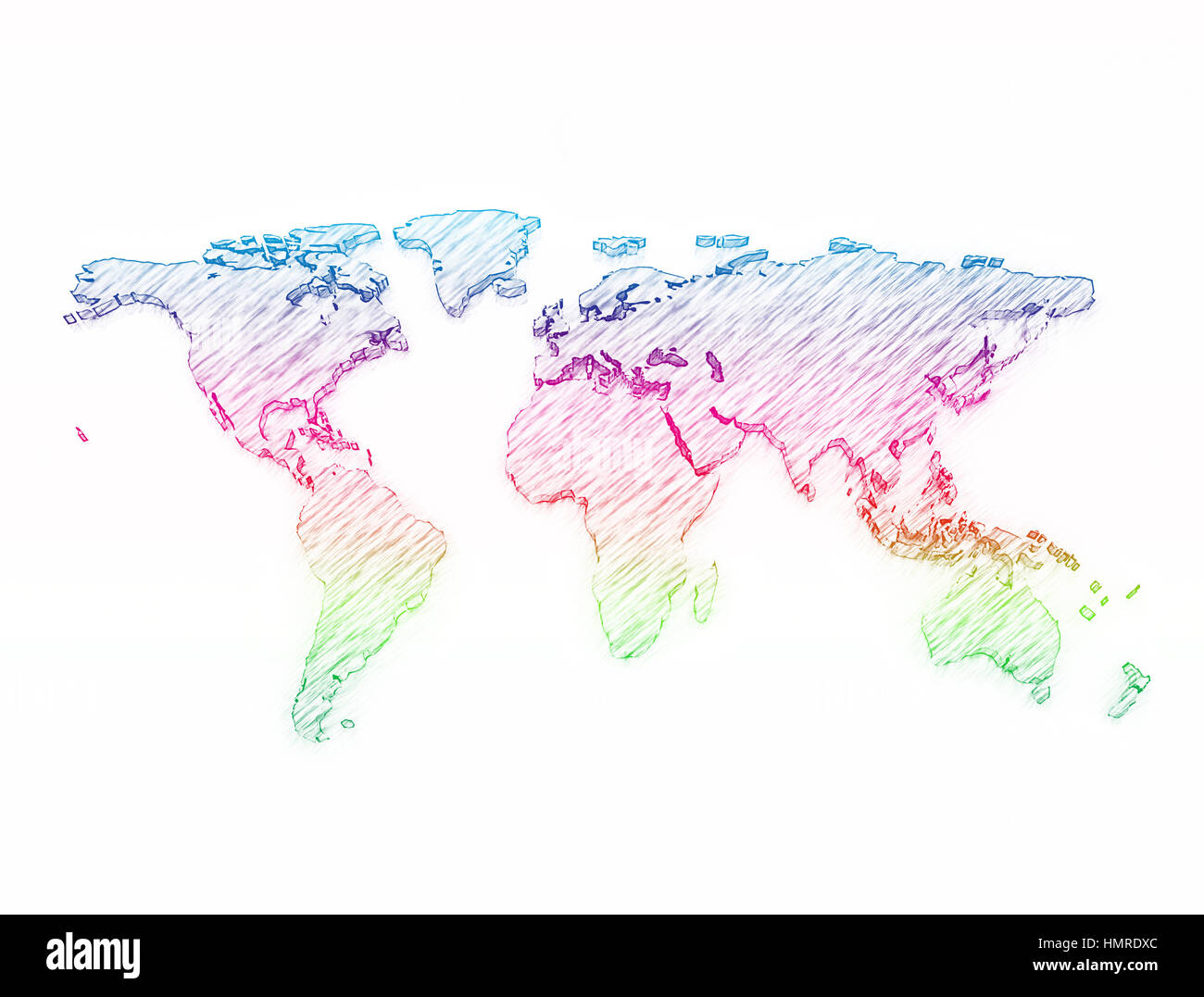 World Map 3d Pencil Sketch Multi Color Stock Photo 133281524 Alamy