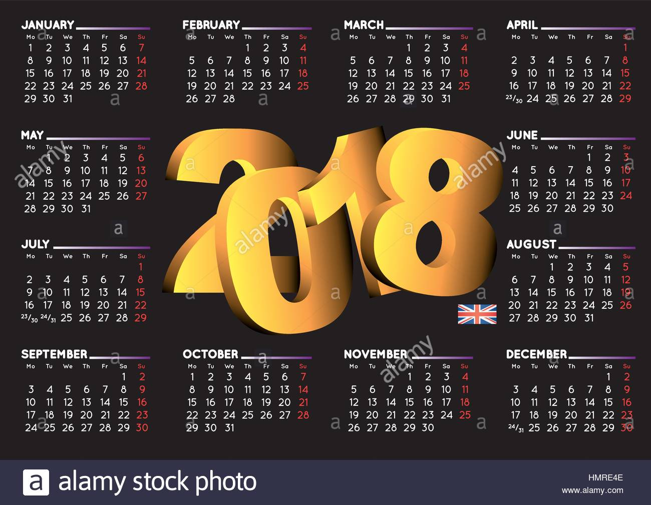 2018 black calendar in english year 2018 calendar calendar 2018 stock vector art. Black Bedroom Furniture Sets. Home Design Ideas