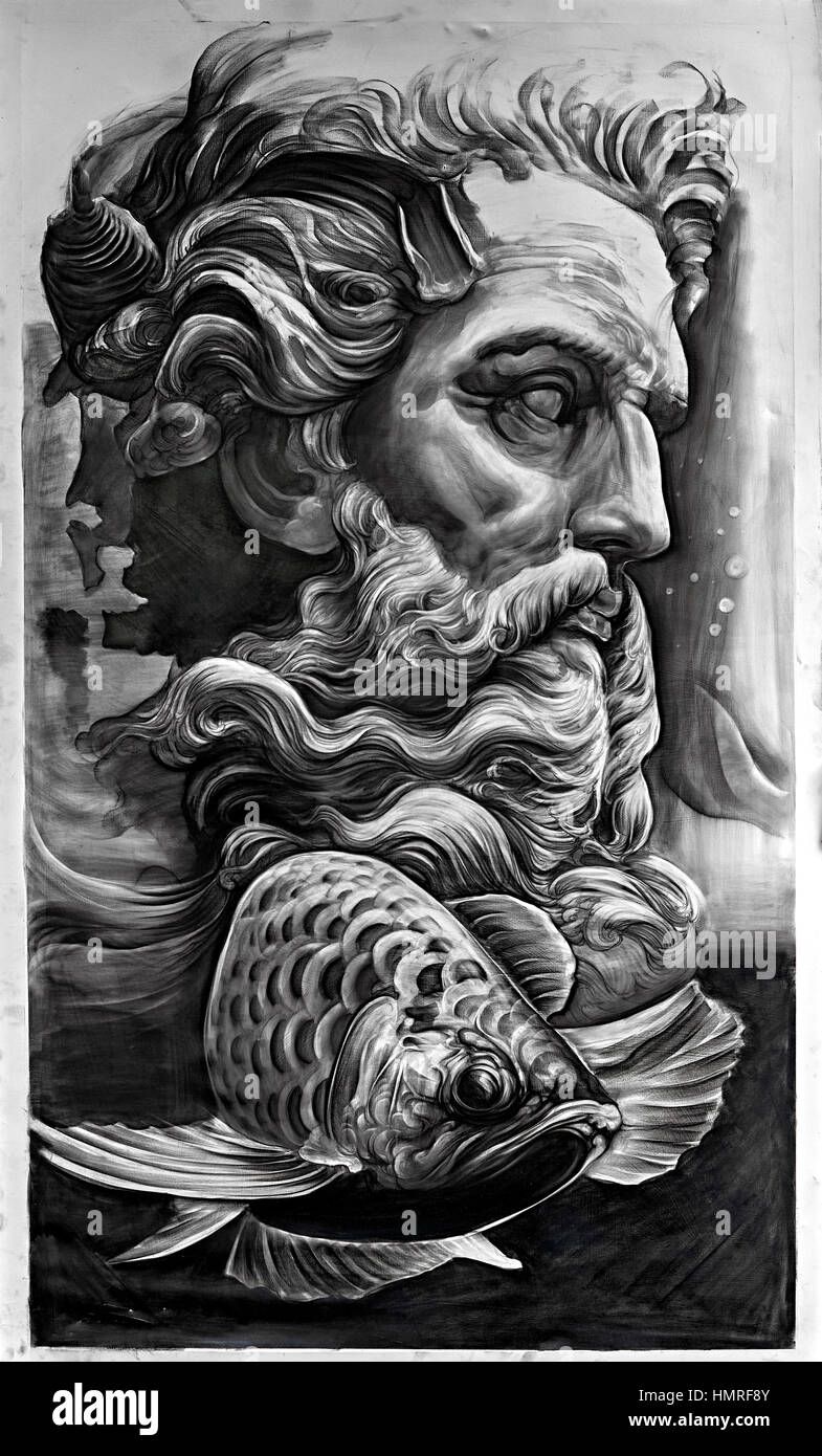 Black and white photography painting of neptune greek god of the sea