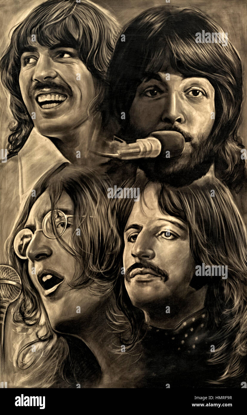 Monotone sepia painting of The Beatles. - Stock Image