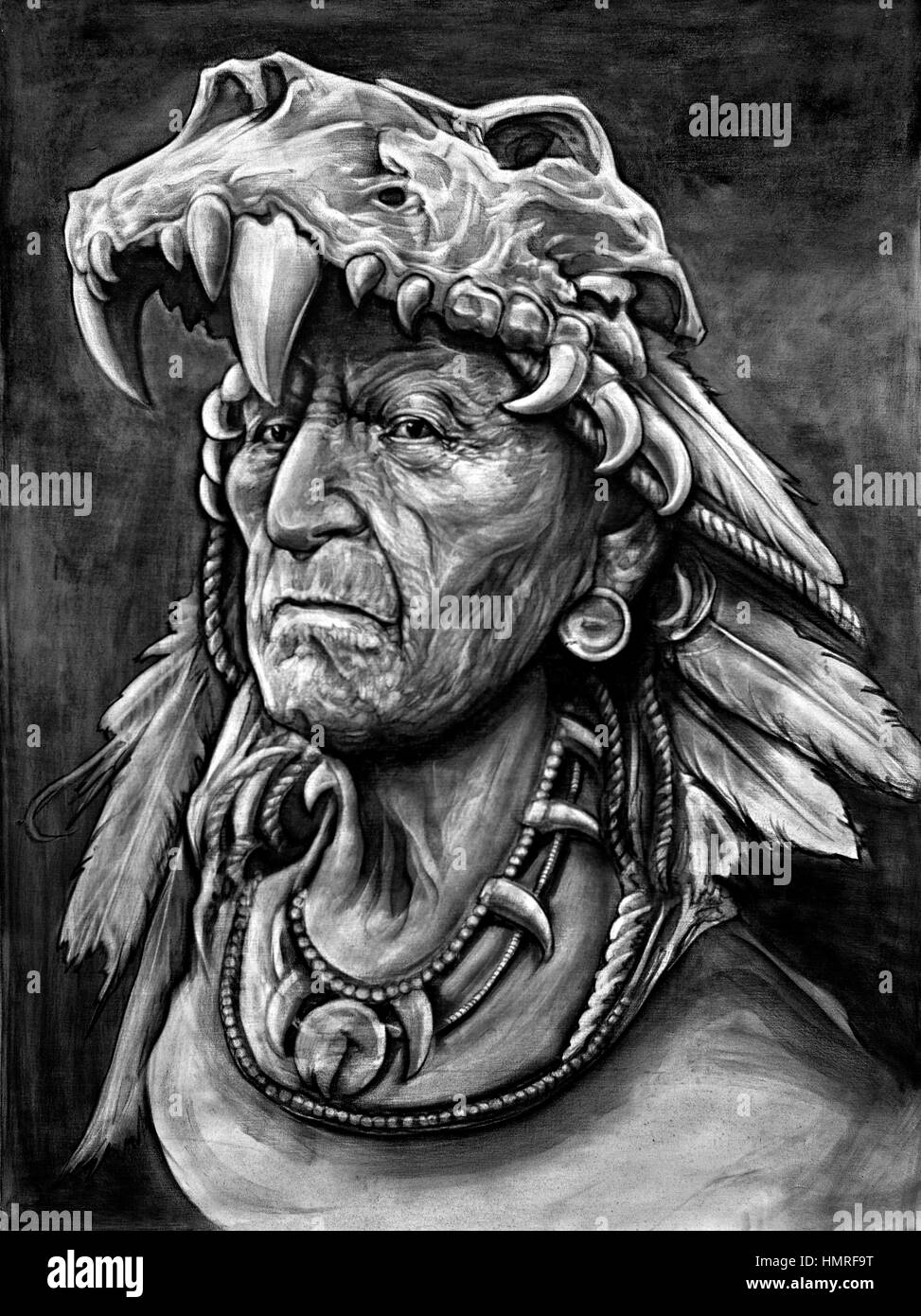Black and white photography painting of a native american indian
