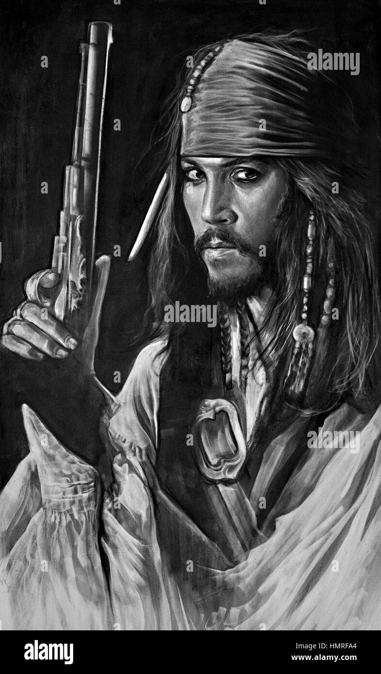 Black and white photography painting of johnny depp in his role as captain jack sparrow pirates of the caribbean movie